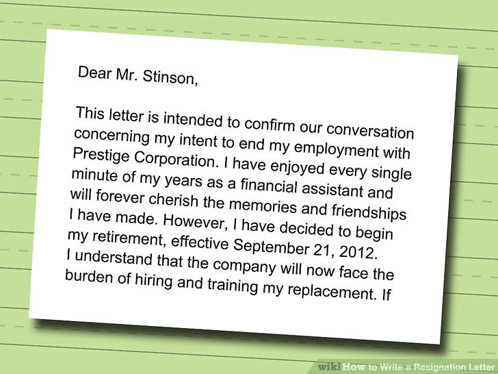 How to Write a Resignation Letter (with Sample) - wikiHow - great relationships after quitting job