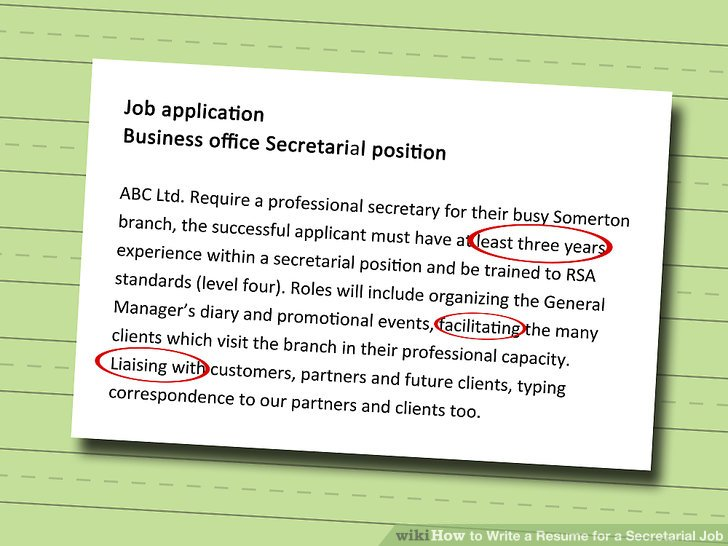 How to Write a Resume for a Secretarial Job 11 Steps