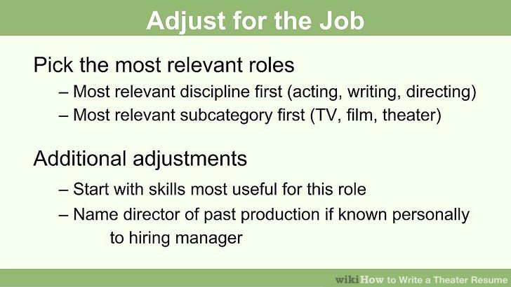 How to Write a Theater Resume 13 Steps (with Pictures) - wikiHow