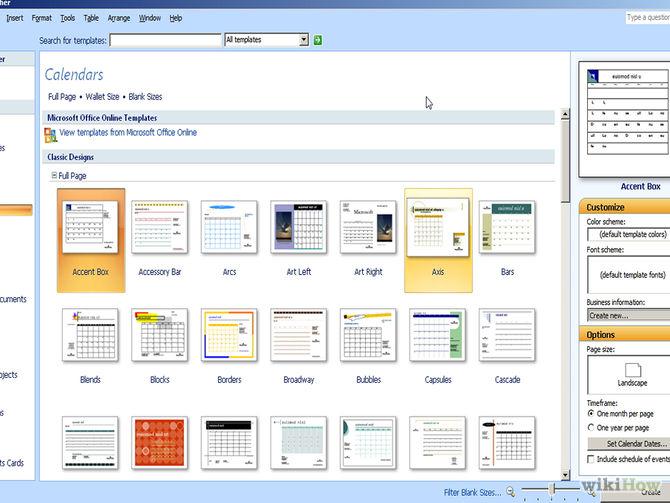 microsoft publisher calendar templates