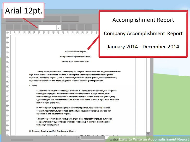 How to Write an Accomplishment Report 15 Steps (with Pictures) - accomplishment report format