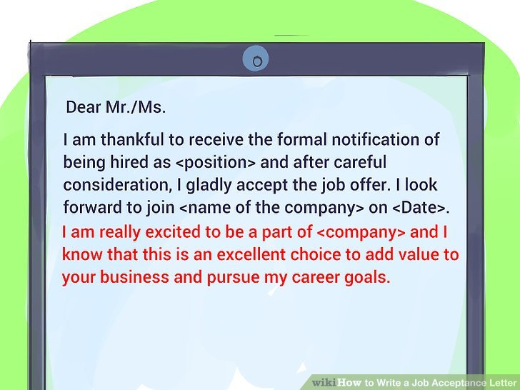How to Write a Job Acceptance Letter 11 Steps (with Pictures)