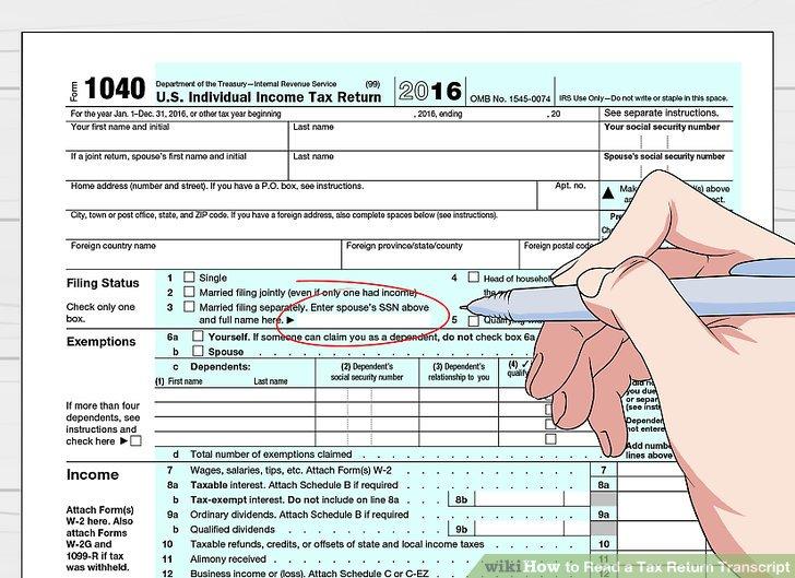 3 Ways to Read a Tax Return Transcript - wikiHow - tax form