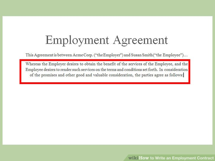 How to Write an Employment Contract (with Pictures) - wikiHow - employment agreement contract