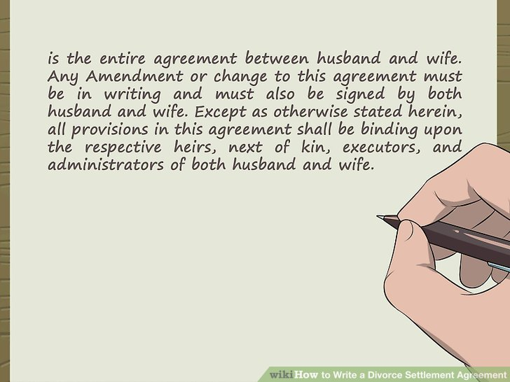 How to Write a Divorce Settlement Agreement (with Pictures) - examples of divorce papers