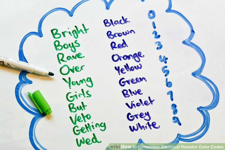 How to Remember Electrical Resistor Color Codes 5 Steps - resistor color code chart
