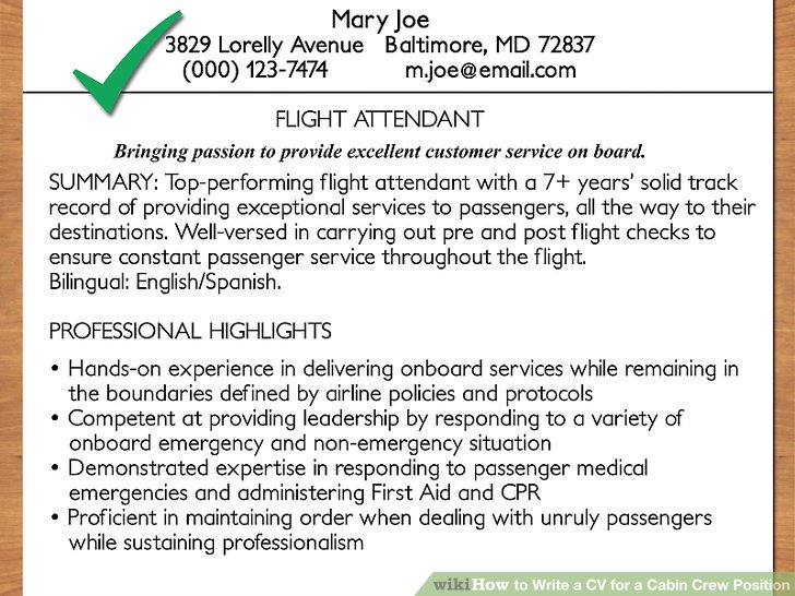 How to Write a CV for a Cabin Crew Position (with Pictures) - how to fill out a resume