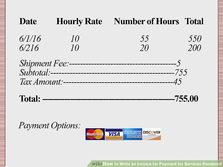 How to Write an Invoice for Payment for Services Rendered (with - How To Write Up An Invoice