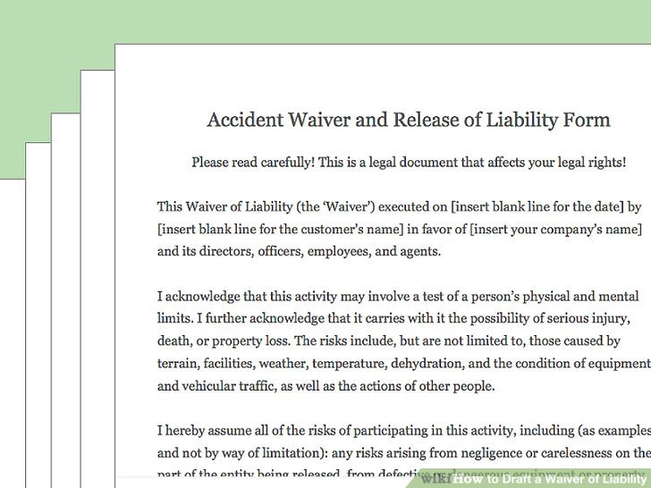 How to Draft a Waiver of Liability (with Pictures) - wikiHow - liability waiver form