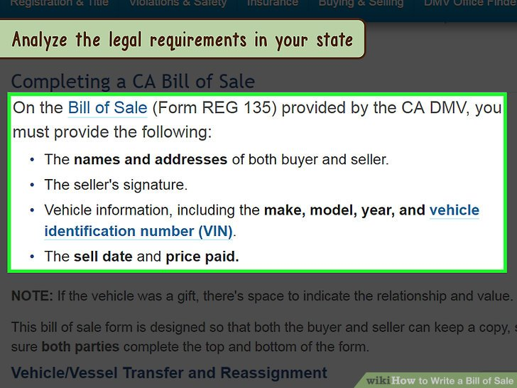 How to Draft a Bill of Sale for a Vehicle (with Pictures) - department of motor vehicles bill of sale form