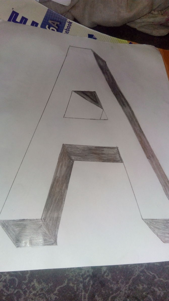 how to draw in 3d block letters