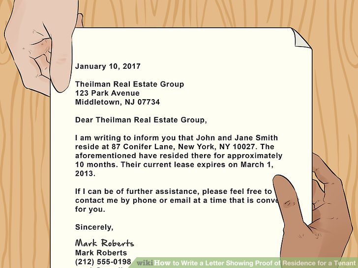 How to Write a Letter Showing Proof of Residence for a Tenant (with