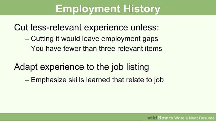 How to Write a Neat Resume 13 Steps (with Pictures) - wikiHow - job history resume