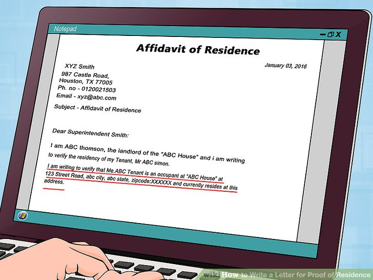How to Write a Letter for Proof of Residence with Sample - oukasinfo - proof of rent letter from landlord sample