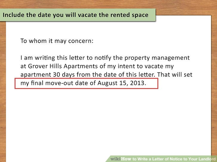 How to Write a Letter of Notice to Your Landlord 14 Steps - Letter To Landlord