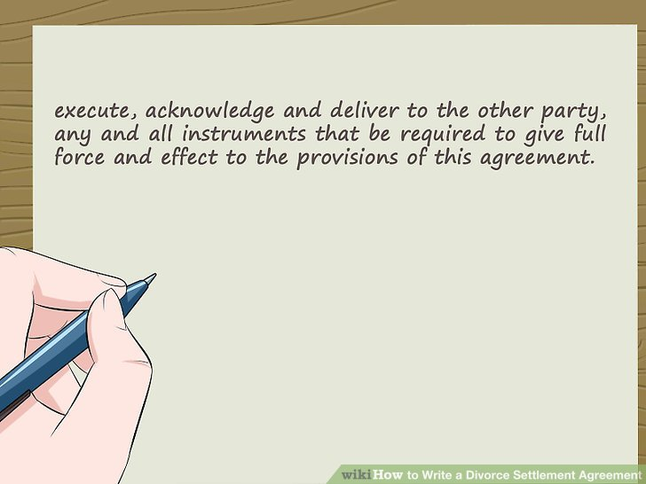 How to Write a Divorce Settlement Agreement (with Pictures) - sample divorce agreement
