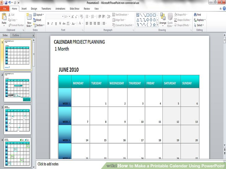 How to Make a Printable Calendar Using PowerPoint 9 Steps