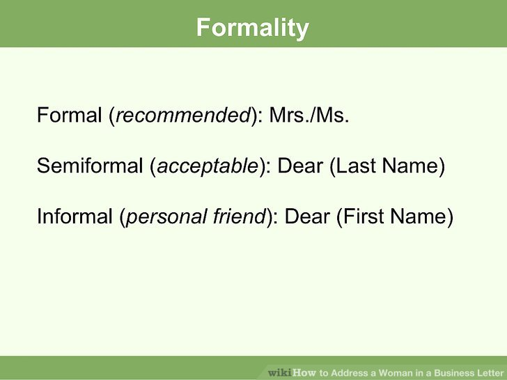 How to Address a Woman in a Business Letter 7 Steps - business letter salutation