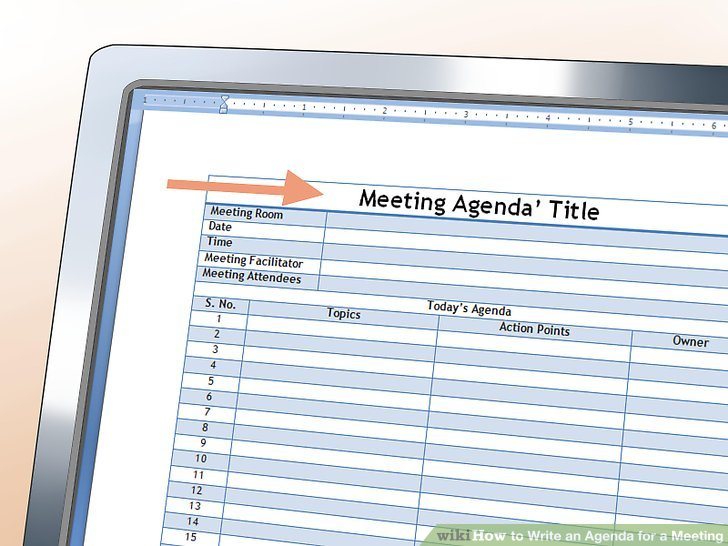 How to Write an Agenda for a Meeting (with Sample Agendas) - how to write an agenda template