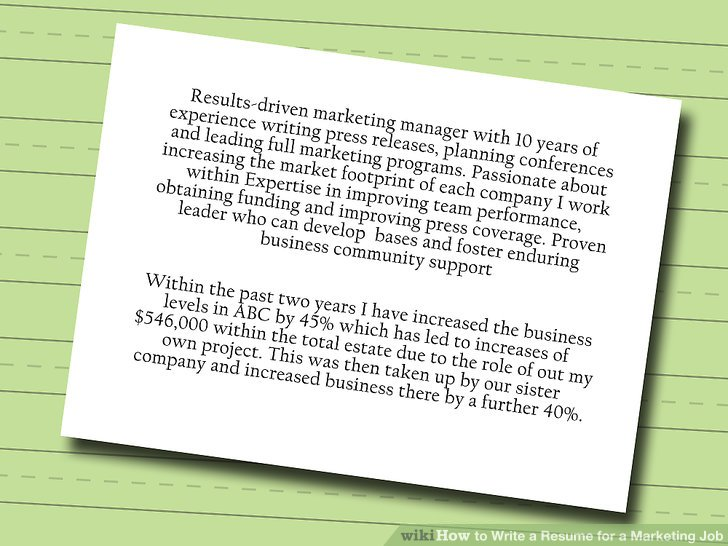 How to Write a Resume for a Marketing Job 9 Steps (with Pictures) - resume for marketing job