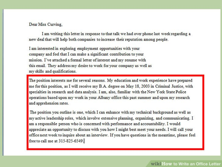 How to Write an Office Letter (with Pictures) - wikiHow