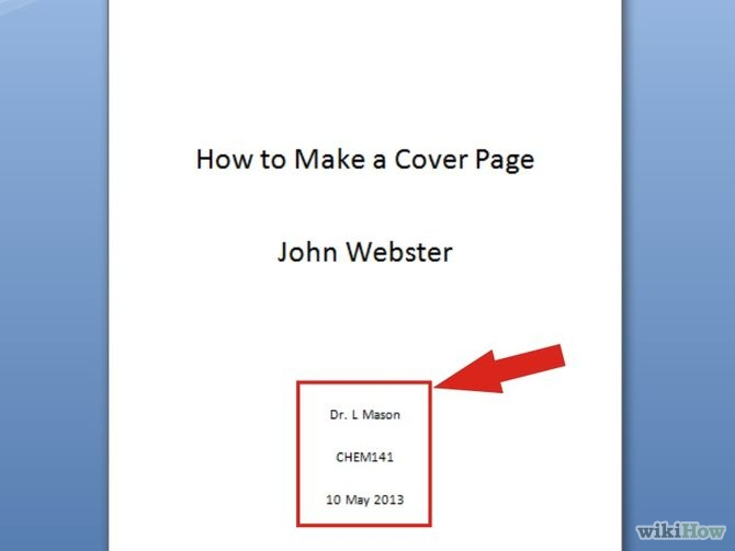 how do you make a cover page for an essay