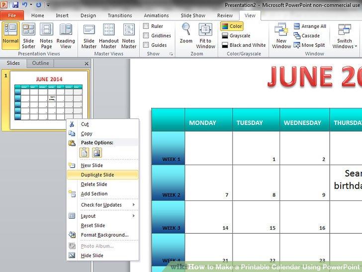 How to Make a Printable Calendar Using PowerPoint 9 Steps - create a photo calendar