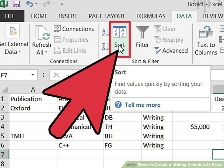 How to Create a Writing Schedule in Excel 7 Steps (with Pictures)