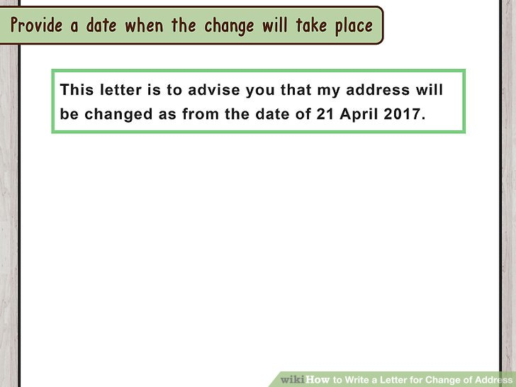 How to Write a Letter for Change of Address (with Pictures) - change of address form template