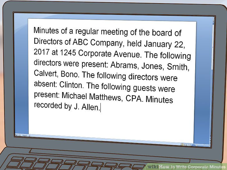 How to Write Corporate Minutes (with Pictures) - wikiHow