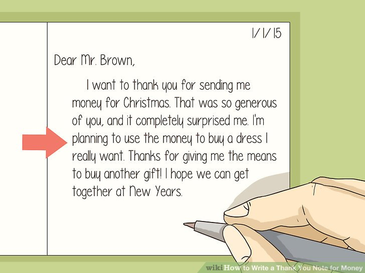How to Write a Thank You Note for Money (with Sample Thank You Notes) - thank you letter for gift