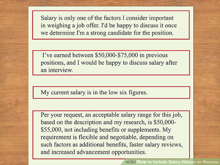 How to Include Salary History on Resume 11 Steps (with Pictures)