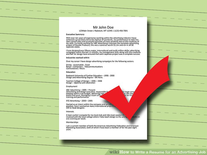 3 Ways to Write a Resume for an Advertising Job - wikiHow - advertising resume
