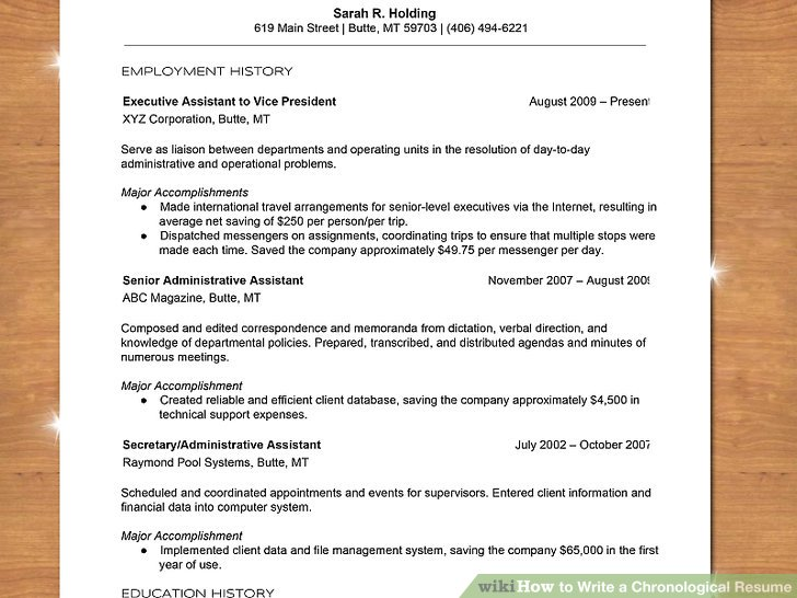 How to Write a Chronological Resume (with Sample Resume) - how to write first resume