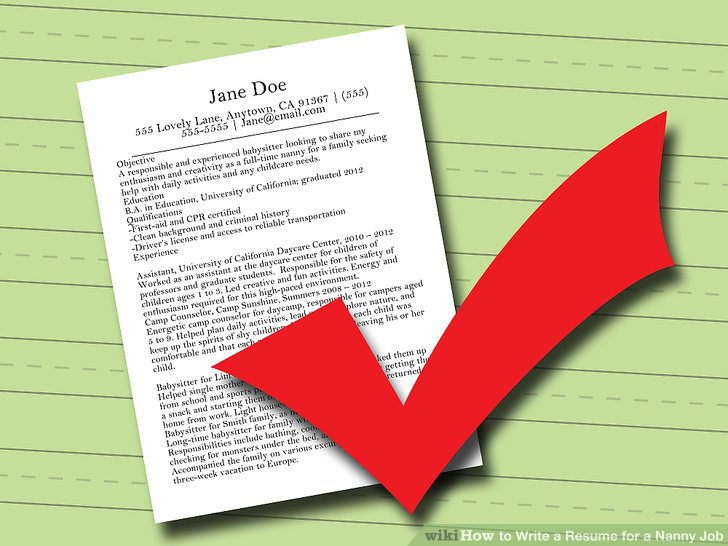How to Write a Resume for a Nanny Job 10 Steps (with Pictures) - nanny responsibilities resume