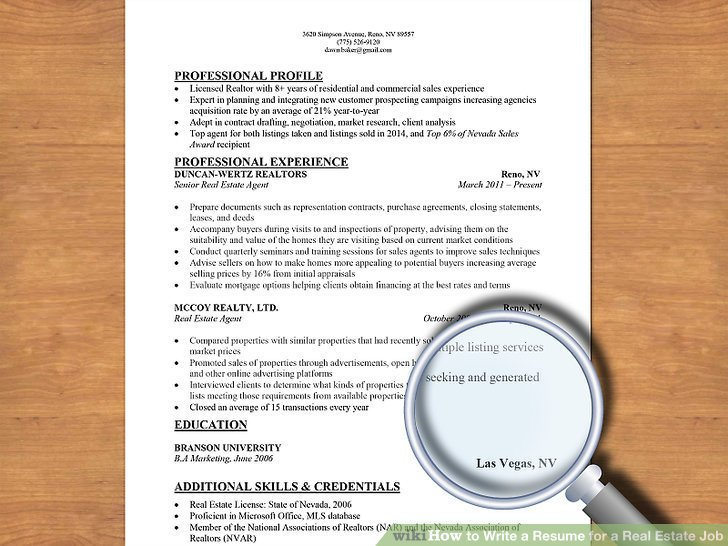 How to Write a Resume for a Real Estate Job 13 Steps - Realtor Resume