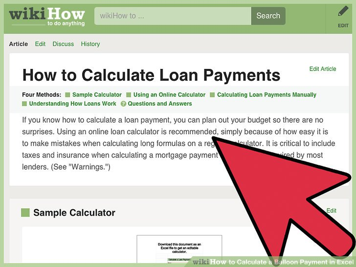 How to Calculate a Balloon Payment in Excel (with Pictures) - baloon payment calculator