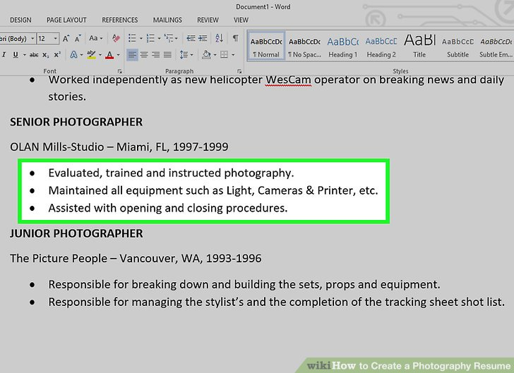 How to Create a Photography Resume (with Pictures) - wikiHow - junior photographer resume