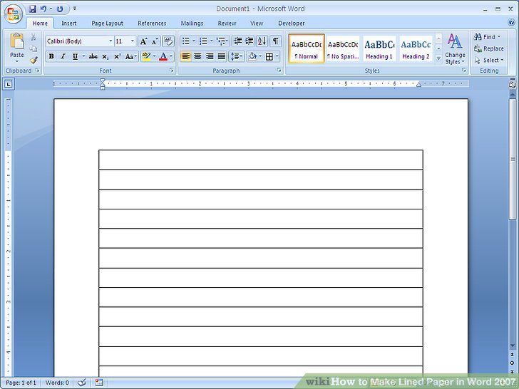 How to Make Lined Paper in Word 2007 4 Steps (with Pictures)