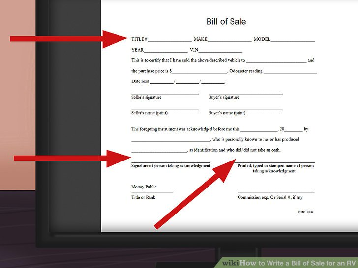How to Write a Bill of Sale for an RV 11 Steps (with Pictures)
