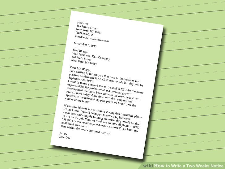 How to Write a Two Weeks Notice (with Pictures) - wikiHow - how to write a 2 weeks notice letter