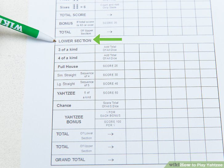 How to Play Yahtzee (with Pictures) - wikiHow - sample yahtzee score sheet