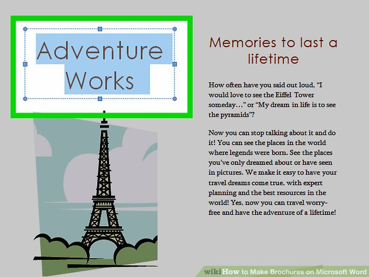 How to Make Brochures on Microsoft Word (with Pictures) - wikiHow - Brochures On Word
