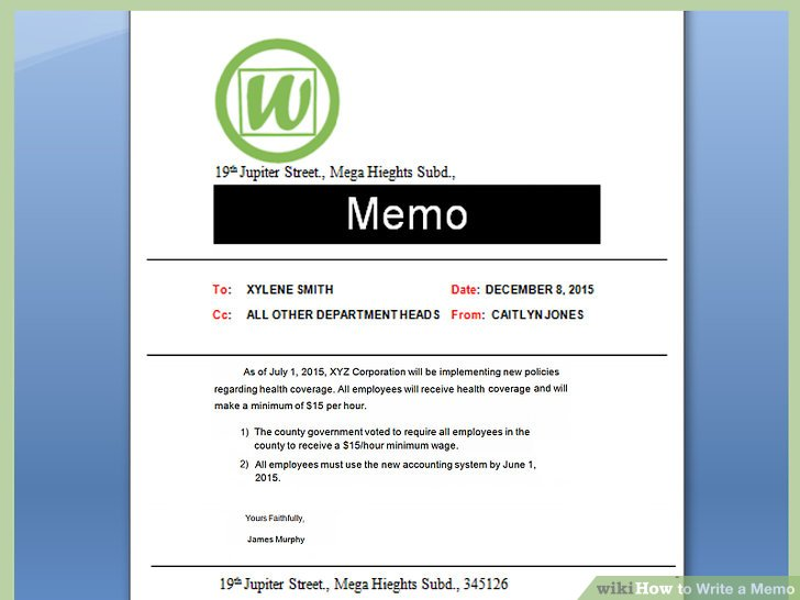 How to Write a Memo (with Pictures) - wikiHow - Sample Memos For Employees