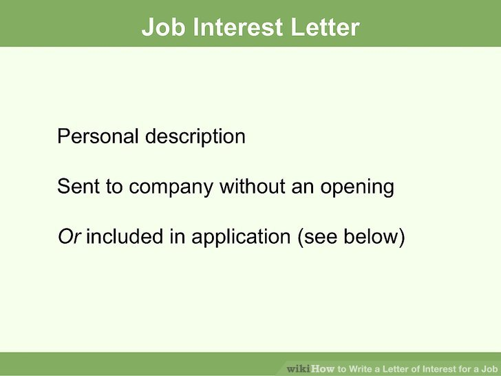 How to Write a Job Interest Letter (with Sample Letters) - letter of interest sample