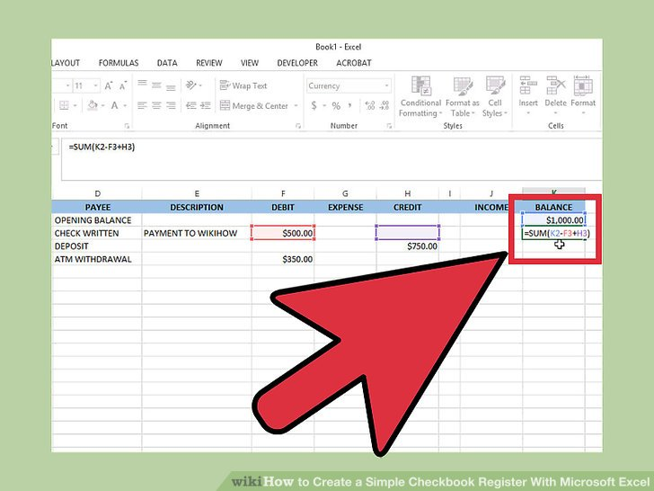how to make a checkbook register in excel