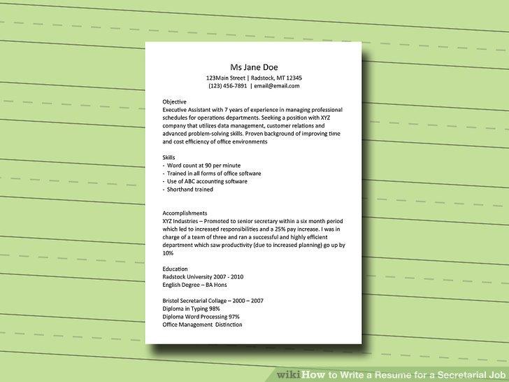 How to Write a Resume for a Secretarial Job 11 Steps