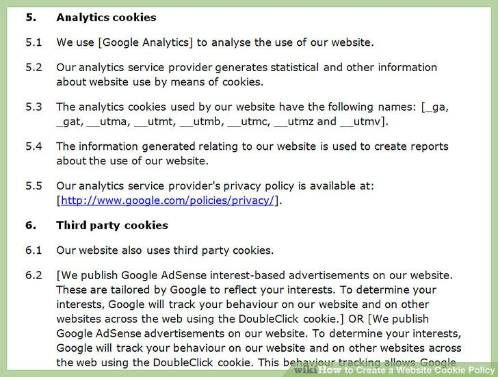 How to Create a Website Cookie Policy (with Sample Cookie Policy) - privacy notice template