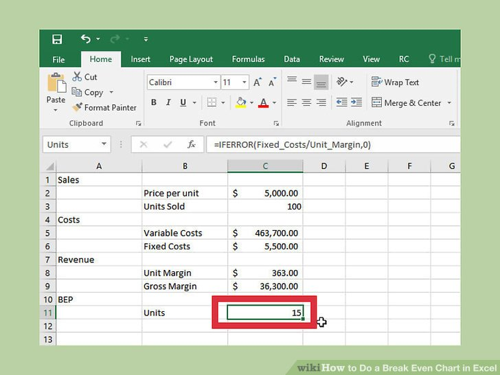How to Do a Break Even Chart in Excel (with Pictures) - wikiHow - excel breakeven chart
