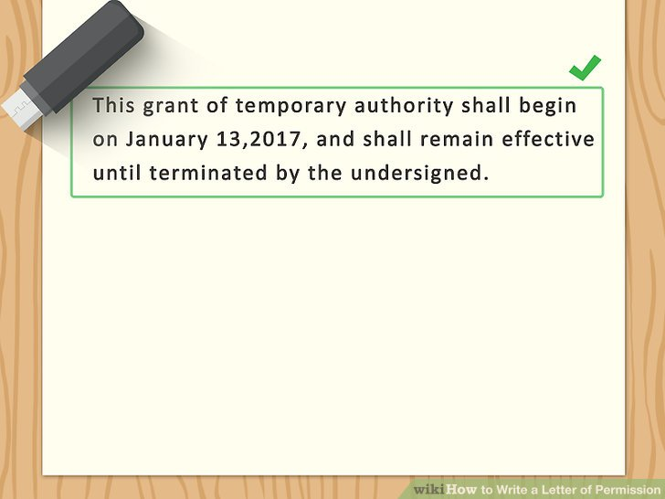 How to Write a Letter of Permission (with Sample Letters) - permission letter